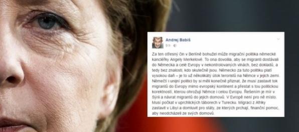 Babiš: Za útok v Berlíne môže migračná politika Merkelovej