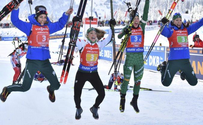 Talianky zvíťazili na pretekoch štafiet v Hochfilzene, Slovenkám ostalo 14. miesto