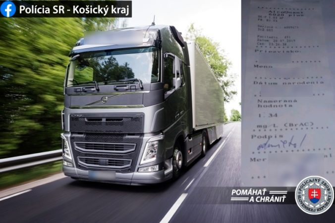 Polícia v okrese Sobrance chytila opitého kamionistu, nafúkal takmer tri promile alkoholu