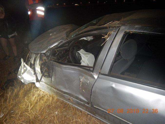 Foto: Nepripútaný vodič sa chcel vyhnúť zrazenému psovi, vyletel mimo cesty a ťažko sa zranil