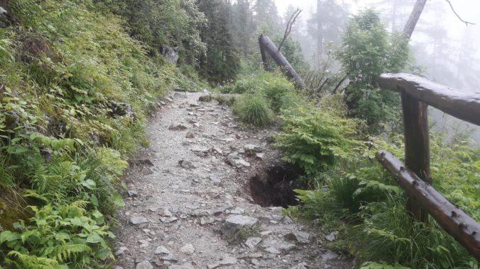 Časť chodníka za Bilíkovou chatou strhli a odplavili prívalové dažde, trasa je priechodná (foto)