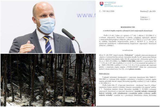 Minister Naď odtajnil spis havárie špeciálu AN-24, pri ktorej zahynuli slovenskí vojaci