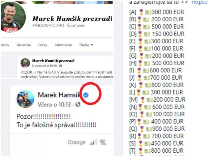 Sľúbil vám Hamšík, Rozboril a Čaputová, že vyhráte státisíce eur? Polícia upozorňuje na hoax