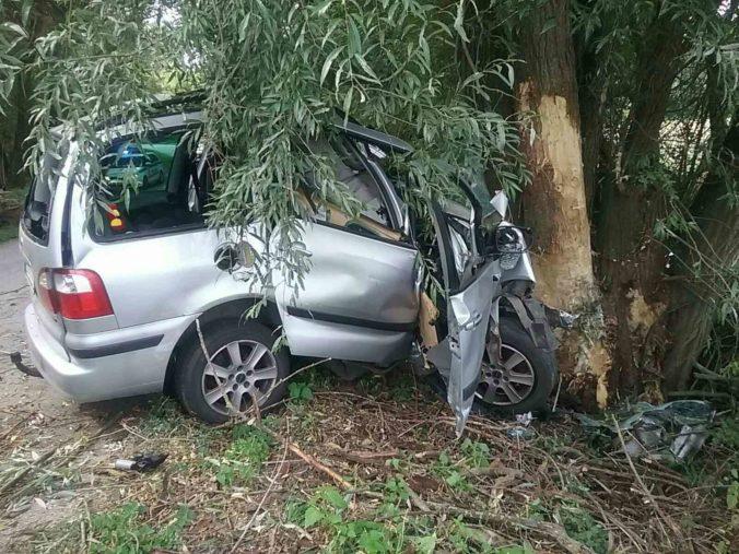 Vodič neprežil silný náraz do stromu, vozidlo zabezpečili privolaní hasiči (foto)