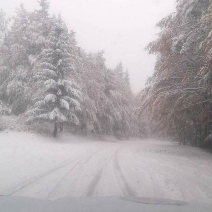 Vodiči pozor, cesta na Skalku je uzavretá. Dopravu komplikuje husté sneženie a popadané stromy