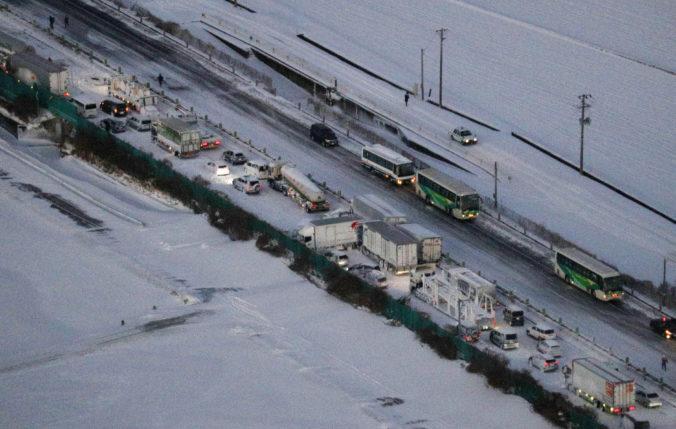 V Japonsku sa zrazilo viac ako 130 áut, na diaľnici uviazli stovky ľudí (video)
