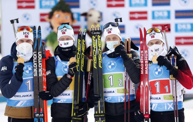 Nóri získali zlato v štafete na MS v biatlone, Slováci skončili v top 20