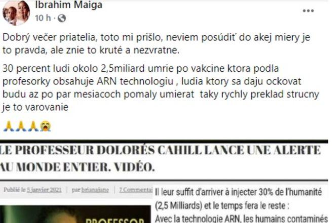 Spevák a herec Ibrahim Maiga šíri hoax o 2,5 miliarde obetí očkovania