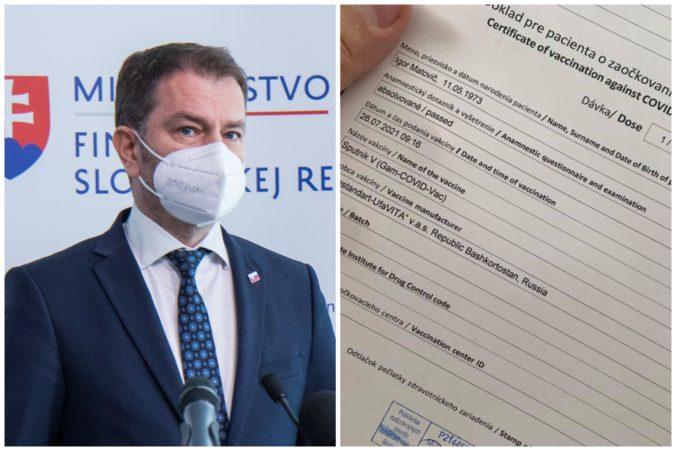 Matovič dostal prvú dávku vakcíny Sputnik V, skritizoval dezolátov v politike aj ŠÚKL pre ich tupý boj proti Rusku